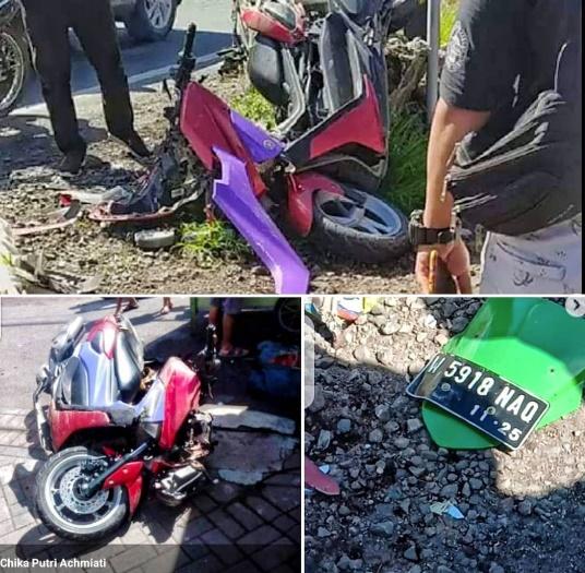 Kecelakaan Libatkan Dump Truck dan Sepeda Motor di Menganti