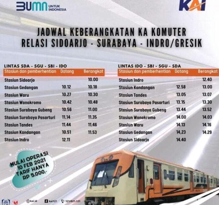 Jadwal dan Tarif Kereta Api Jurusan Stasiun Indro Menuju Sidoarjo