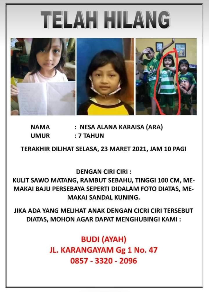 Nessa Alana Caraesa 7 Tahun, Dilaporkan Hilang Sejak Selasa Pagi