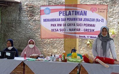 PKK RW 8 Desa Suci Gelar Pelatihan Pemulasaran Jenazah Kerjasama Rumah Zakat